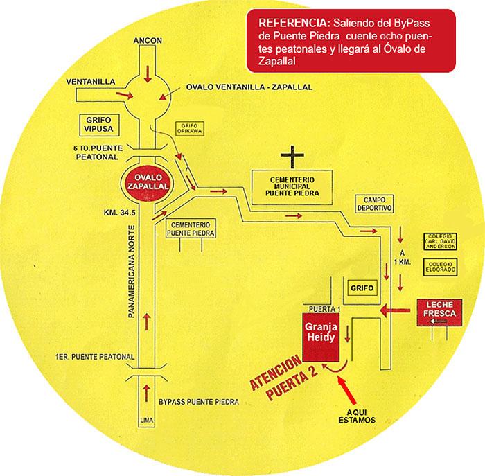 Mapa para llegar a Granja Heidy